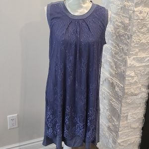 Papillion jersey tshirt dress with lace overlay